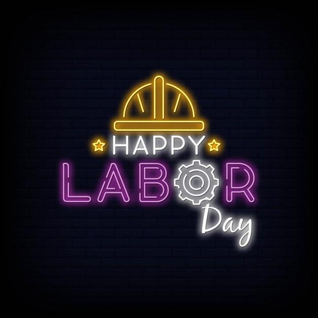 Happy labour day neon text vector Premium Vector