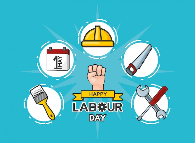 Happy labour day set of the labour day labour objects illustration Free Vector
