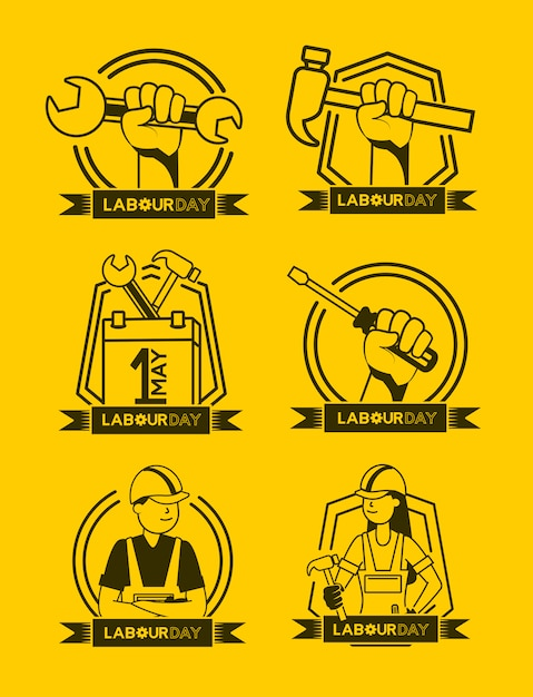 Happy labour day set of labour icons illustration Free Vector