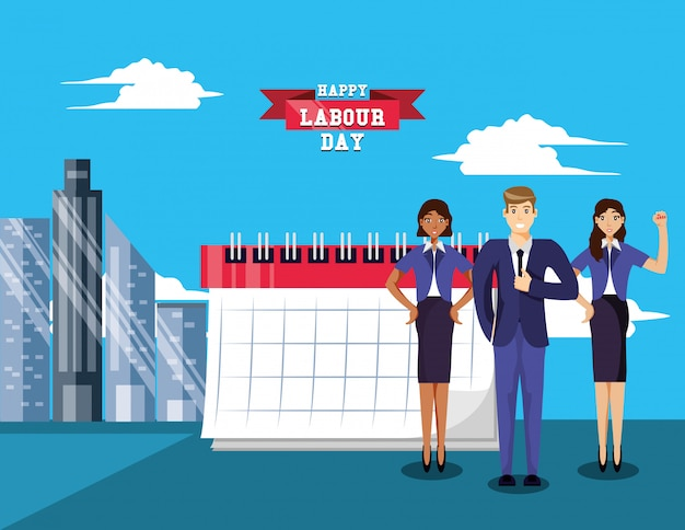 Happy labour day with business people Premium Vector