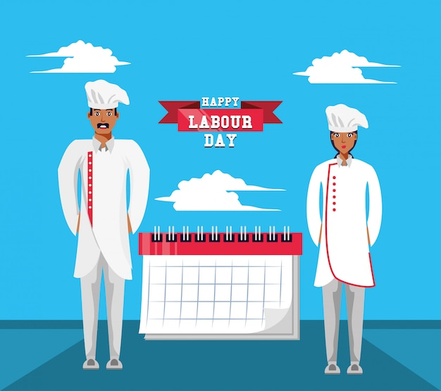 Happy labour day with chef and calendar Premium Vector