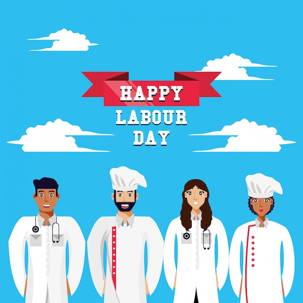 Happy labour day with doctors and chef Premium Vector