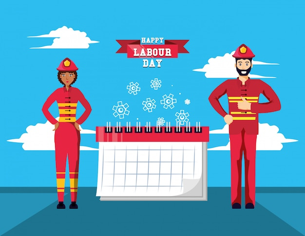 Happy labour day with firefighters and calendar Premium Vector