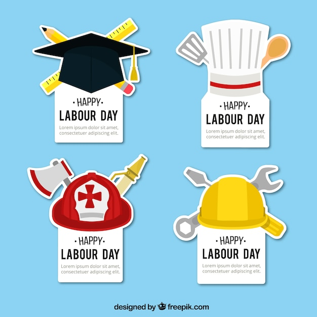 Happy labour day with great colored stickers