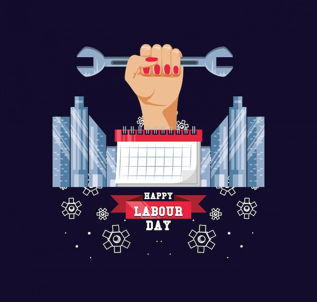 Happy labour day with hand and wrench Premium Vector