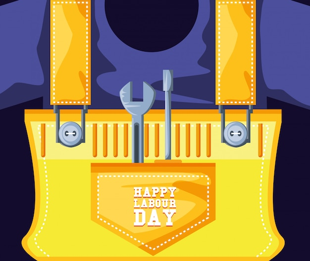 Happy labour day with overalls and tools Premium Vector