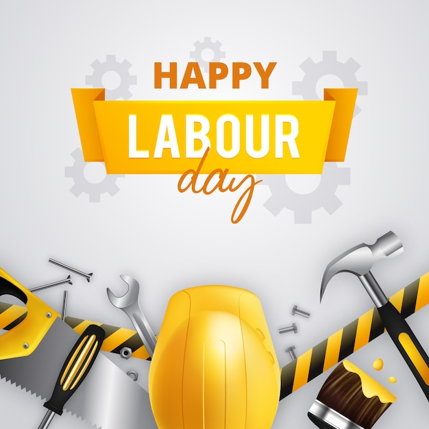 Happy labour day with yellow helmet and tools Free Vector