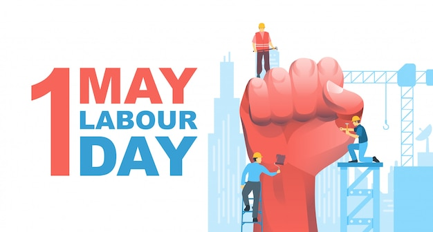 Happy labour day Premium Vector