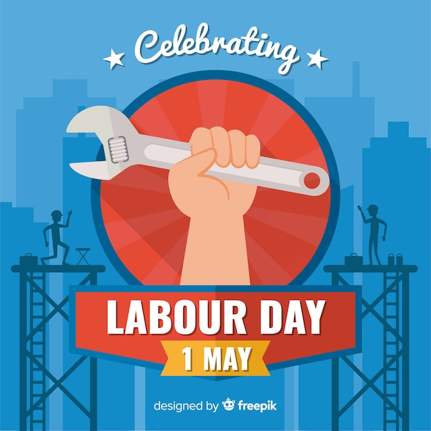 Happy labour day Free Vector