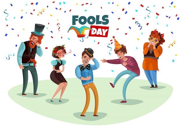 Счастливые смеющиеся люди празднуют день дурака Бесплатные векторы