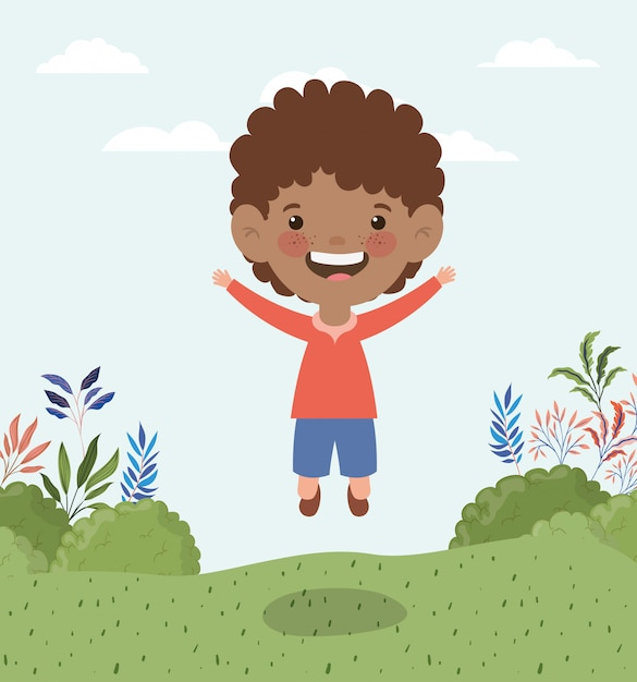 Happy little afro boy in the landscape Free Vector