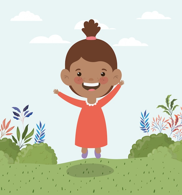 Happy little afro girl in the field landscape Free Vector