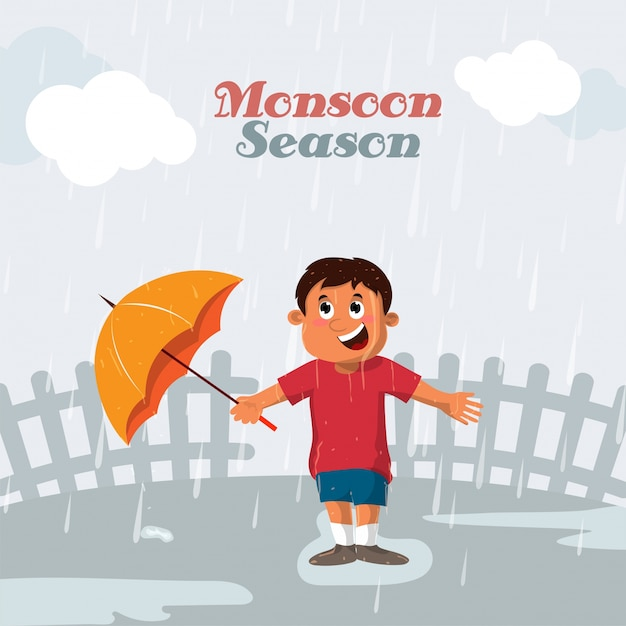 Happy Little Boy Holding An Orange Umbrella And Standing In Rains Vector For Monsoon Season