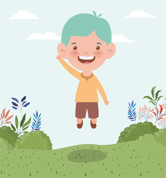 Happy little boy in the landscape Free Vector