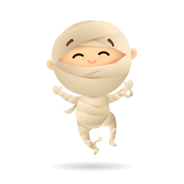 Happy little boy in mummy costume Free Vector