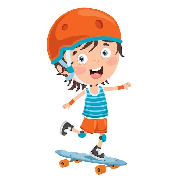 Happy little child skateboarding outside Premium Vector