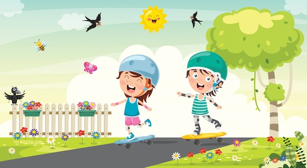 Happy little children skateboarding outside Premium Vector