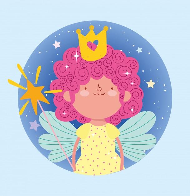 幸せな小さなおとぎ話の漫画の魔法の杖と王冠 Premiumベクター