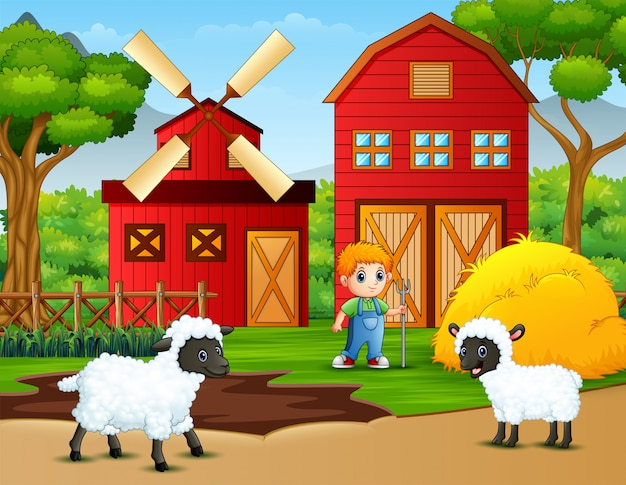 Happy little farmer and sheeps in the farm Premium Vector