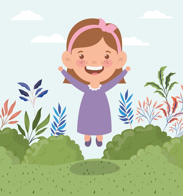 Happy little girl in the field landscape Free Vector