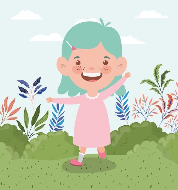 Happy little girl in the field landscape Free Vector