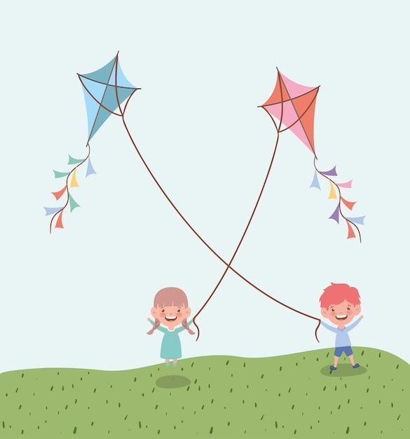 Happy little kids flying kites in the field landscape Free Vector