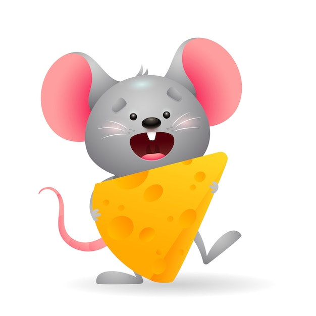 Happy little mouse eating cheese Free Vector