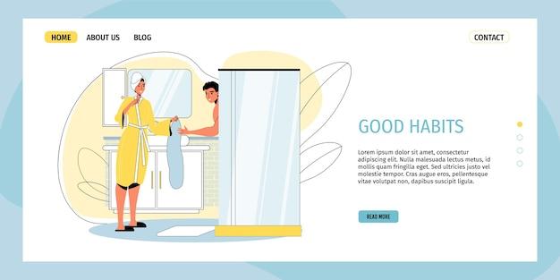 幸せな愛情のある家族カップルの文字が朝のシャワーを浴びています。 Premiumベクター
