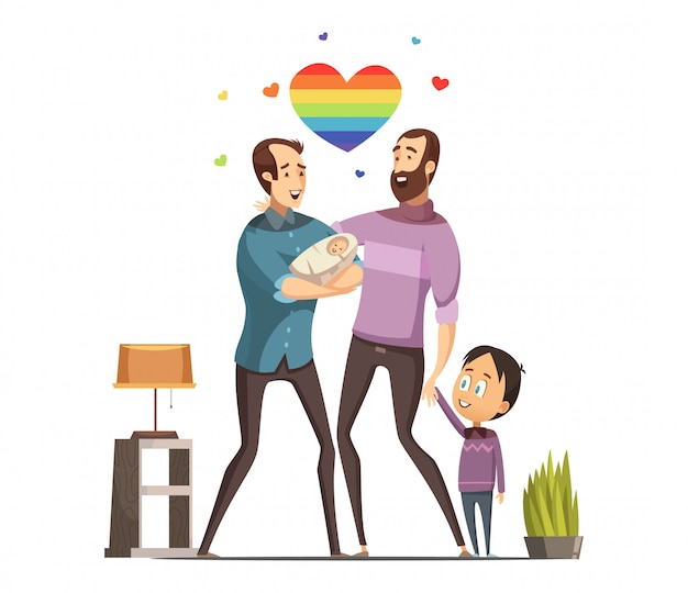 Happy loving same-sex gay couple with newborn baby and little son at home retro cartoon vector illus Free Vector