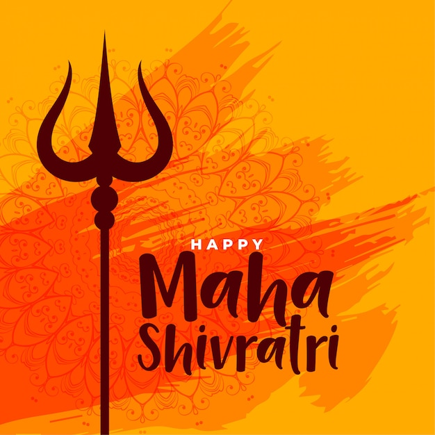 Happy maha shivratri indian festival greeting background Free Vector