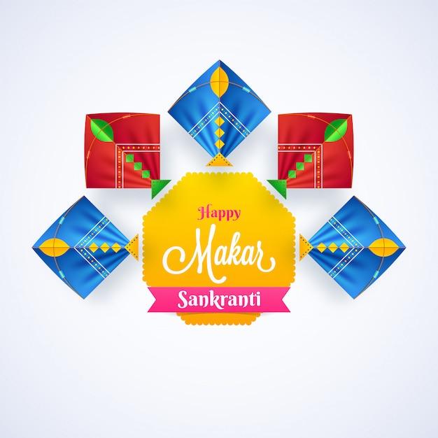Happy makar sankranti background. Premium Vector
