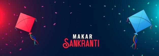Happy makar sankranti banner with flying kites Free Vector