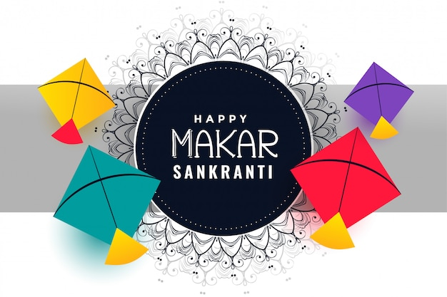 Happy makar sankranti festival background with colorful kites Free Vector