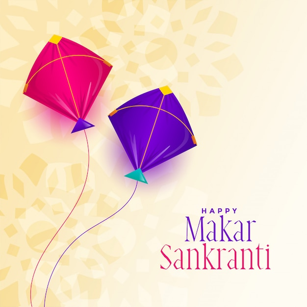 Happy makar sankranti festival with two kite Free Vector