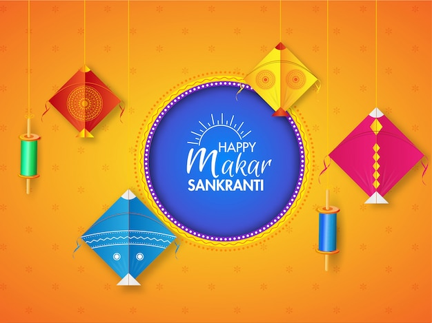 Happy makar sankranti greeting card  decorated with hanging colorful kite's and string spool on orange . Premium Vector