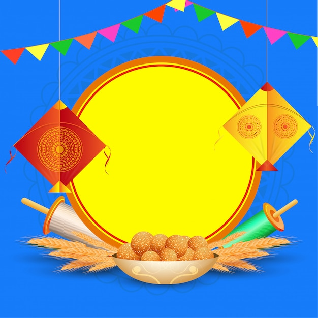 Happy makar sankranti greeting card  with hanging kite, string spool, wheat ear and indian sweet (laddu) on blue  with copyspace for your message. Premium Vector
