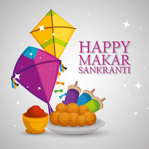 Happy makar sankranti greeting with kites and food Free Vector