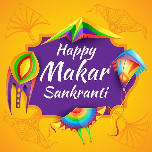 Happy makar sankranti hinduism religion festival with color paper kites Premium Vector