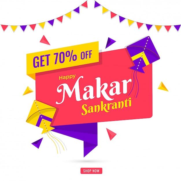 Happy makar sankranti sale poster design with 70% discount offer Premium Vector