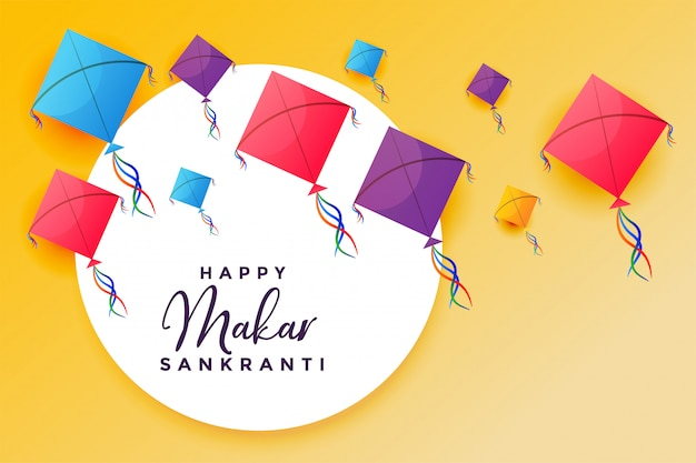 Happy makar sankranti with flying kites festival background Free Vector
