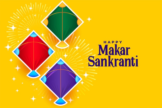 Happy makar sankranti with three kites designs Free Vector