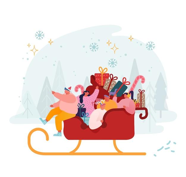 Счастливые мужские и женские персонажи на санях санта-клауса, полные подарков и подарков. Premium векторы