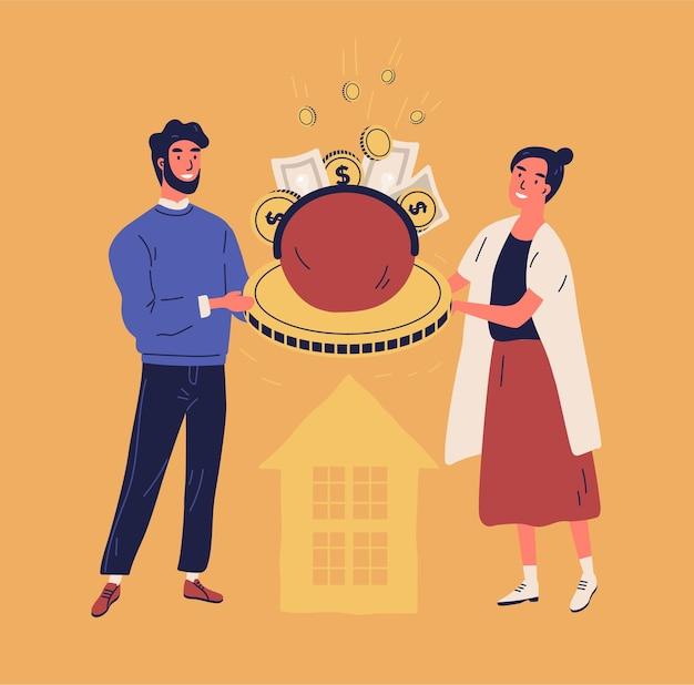 Счастливый мужчина и женщина, держащая кошелек или кошелек с монетами и банкнотами Premium векторы
