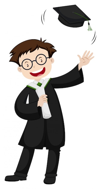 Happy man in black graduation gown Free Vector