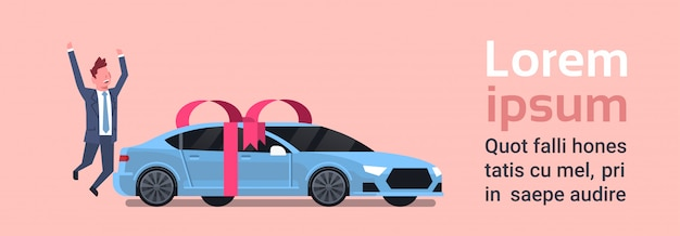 Happy man buy new car over vehicle with ribbon and bow. text template Premium Vector