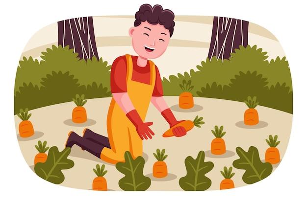 Счастливый фермер урожая моркови в саду. Premium векторы