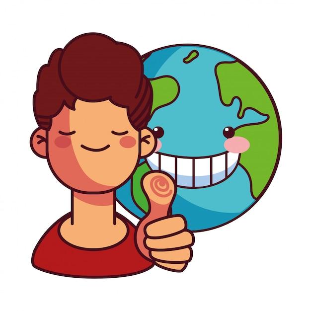 地球保全のための幸せな男 Premiumベクター