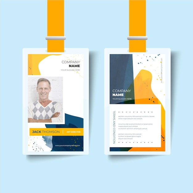 Happy man front and back id card template Premium Vector
