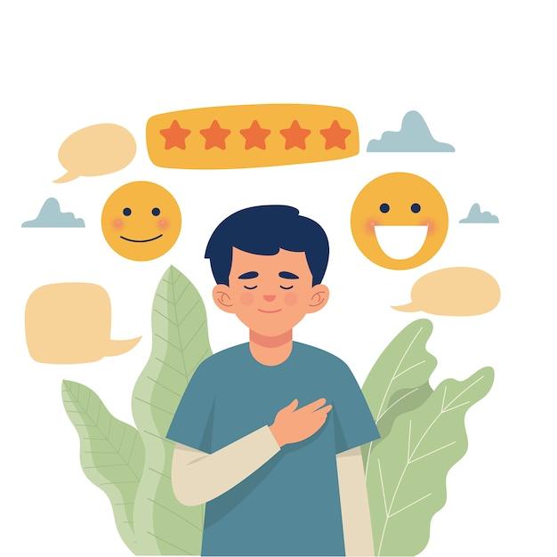 A happy man gets a five star rating Premium Vector