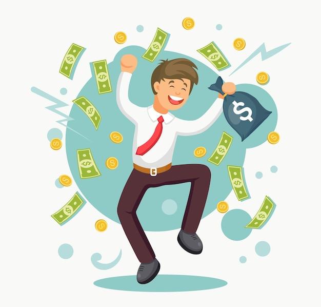 기쁨을 위해 점프하는 행복 한 사람. 비지니스는 돈 비에서 성공을 축하합니다. 사업가에 떨어지는 현금 프리미엄 벡터